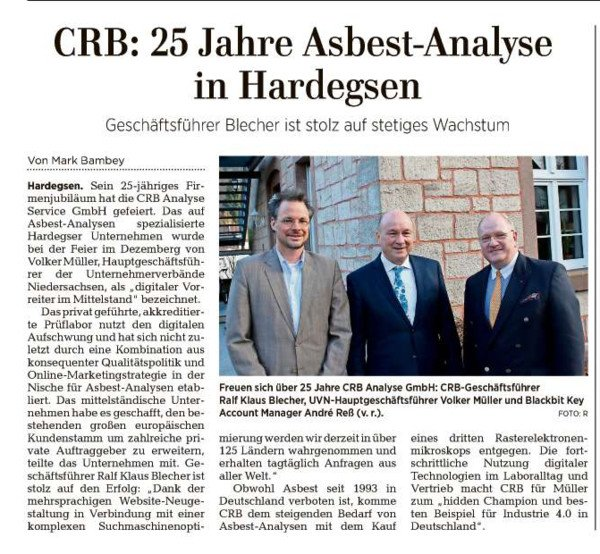 CRB is a digital pioneer in medium-sized businesses. Report Göttinger Tageblatt