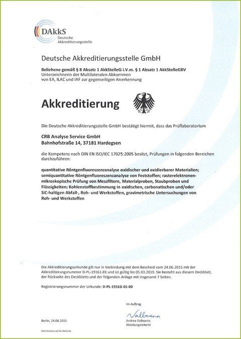 CRB GmbH | certificate of accreditation | © CRB Analyse Service GmbH