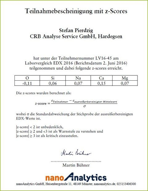 CRB GmbH | certificate proficiency test x-ray microanalysis | © CRB Analyse Service GmbH